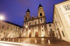 Church in Innsbruck at sunset Stock Photo