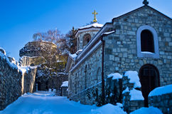 Church inside Kalemegdan fortress covered with snow Stock Image