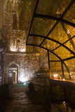 Church inside Kalemegdan fortress at foggy evening in Belgrade Stock Images