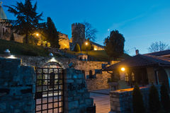 Church inside Kalemegdan fortress at night in Belgrade Royalty Free Stock Image