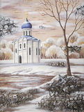 Church of the Intercession of the Holy Virgin. Drawing distemper on a birch bark: The Church of the Intercession of the Holy Virgin on the Nerl River, Russia Stock Illustration