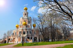 The Church of the Intercession of the Holy Virgin in Fili in Moscow. Classic monument of Moscow architecture stock images