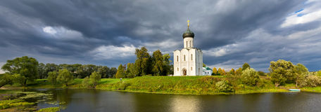 The Church of the Intercession of the Holy Virgin on the Nerl Ri Royalty Free Stock Photos