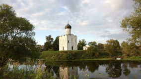 Church of Intercession of Holy Virgin on Nerl River stock video