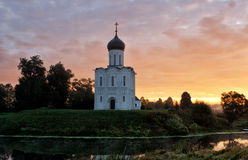 Church of the Intercession of the Holy Virgin on  Nerl River Royalty Free Stock Image
