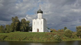 Church of the Intercession of the Holy Virgin on the Nerl River stock video footage