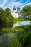 Church of the Intercession of the Holy Virgin on the Nerl River on the bright summer day. Ancient city Vladimir with suburbs is recognized as significant Stock Image