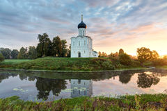 Church of Intercession of Holy Virgin on the Nerl River at dawn. Royalty Free Stock Images