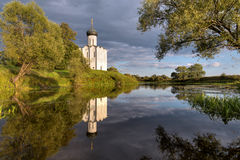 Church Intercession of Holy Virgin on Nerl River. Russia Royalty Free Stock Photos