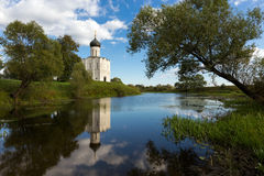Church Intercession of Holy Virgin on Nerl River. Russia Stock Photo
