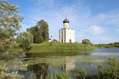 The Church of the Intercession of the Holy Virgin on the Nerl River, Russia stock photo