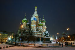 The Church of the Intercession on the Moat. On red square in Moscow winter evening Royalty Free Stock Photo