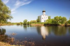 Church of Intercession on the Nerl in the evening, at sunset Stock Photography