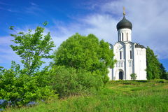Church of the Intercession on the Nerl. Russia, the village Bogolyubovo. Stock Photo