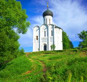 Church of the Intercession on the Nerl. Russia, the village Bogolyubovo. Stock Image