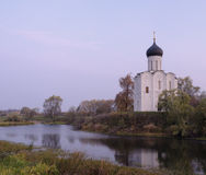 Church of the Intercession on the River Nerl in au. Twilight before dawn. Historical monument of Russian ancient architecture Royalty Free Stock Photos