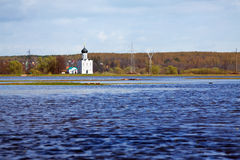 Church of  Intercession on River Nerl in flood Royalty Free Stock Photos