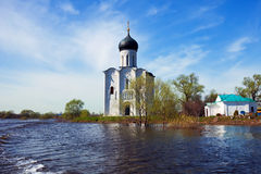 Church of  Intercession on River Nerl in flood Stock Photography