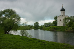 Church of the Intercession on the River Nerl. Inscribed in the W Stock Image