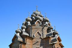 Church of the Intercession in the style of Russian wooden architecture. Church of the Intercession in the style of Russian wooden architecture in the Nevsky Stock Photos