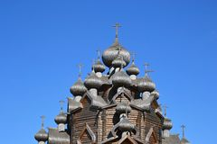 Church of the Intercession in the style of Russian wooden architecture. Royalty Free Stock Photo