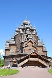 Church of the Intercession in the style of Russian wooden architecture. Church of the Intercession in the style of Russian wooden architecture in the Nevsky Stock Photo