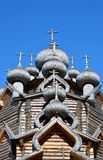 Church of the Intercession in the style of Russian wooden architecture. Church of the Intercession in the style of Russian wooden architecture in the Nevsky Stock Photography