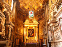 Church interior. Richly decorated church interior in Rome, Italy Royalty Free Stock Photos