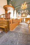 Church interior with a 16th. century rare pulpit Stock Image