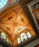 Church interior. With painted roof Royalty Free Stock Photography