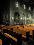 Church Interior. A rendering of a church interior with shafts of light visible through the windows. The Stations of the Cross are visible around the lower stock illustration
