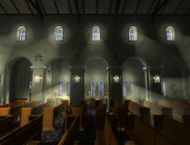 Church Interior. A rendering of a church interior with shafts of light visible through the windows. The Stations of the Cross are visible around the lower royalty free illustration