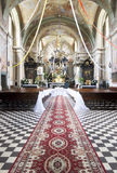 Church interior. Decorated before wedding ceremony Stock Image