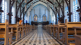Church interior. Church Sanctuary interior, holy and tranquil Stock Photo
