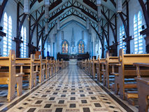 Church interior. Church Sanctuary interior, holy and tranquil Stock Photography