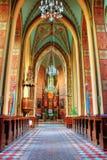 Church interior. Interior of an old church in Wysoka village, Poland stock photos