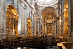 Church interior. Interior of portuguese catholic church in Lisbon, Portugal Royalty Free Stock Photo