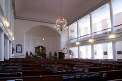 Church interior. Interior view of a large historic church with balconies Royalty Free Stock Photography
