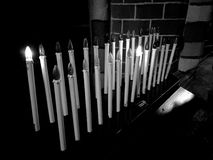 Church interior. Artistic look in black and white. Stock Photo