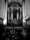 Church interior. Artistic look in black and white. Stock Image