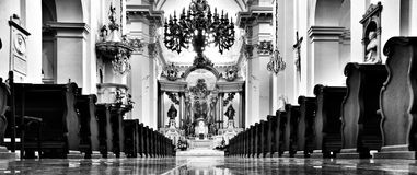 Church interior. Artistic look in black and white. Royalty Free Stock Image