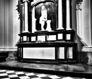 Church interior. Artistic look in black and white. Stock Images