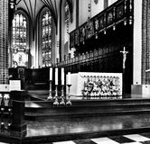 Church interior. Artistic look in black and white. Royalty Free Stock Photography