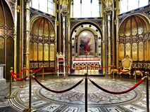 Church interior. Artistic look in vintage vivid colours. Royalty Free Stock Photography