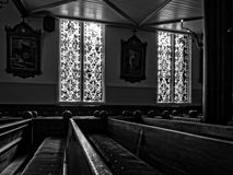 Church interior, black and white Stock Image