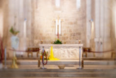 Church interior blur abstract Stock Image