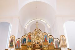 Blurred photo of church interior for abstract background Royalty Free Stock Images