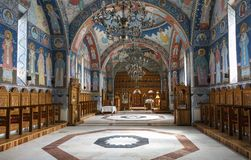 Church interior of Brancoveanu Monastery, Sambata de Sus, Romania royalty free stock photography