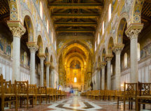 Church interior. Cathedral of Montreale or Duomo di Monreale, Palermo. Royalty Free Stock Photo