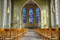Church Interior. With chairs and altar Royalty Free Stock Photography